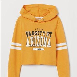 H&M girls hooded cropped sweatshirt 8 /10 yellow